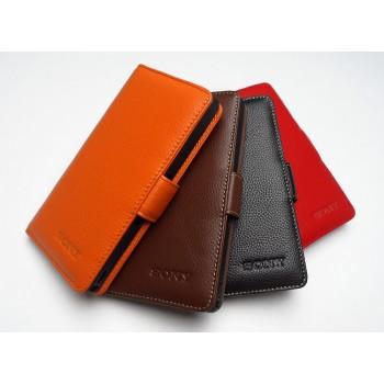 Кожаный чехол портмоне (нат. кожа) для Sony Xperia M4 Aqua