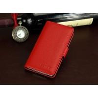 Кожаный чехол портмоне (нат. кожа) для Sony Xperia M4 Aqua Красный