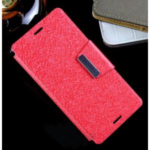 Текстурный чехол флип подставка с магнитной застежкой на силиконовой нескользящей основе для Sony Xperia M4 Aqua
