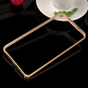 Металлический бампер с золотой окантовкой для Asus Zenfone 2 Бежевый
