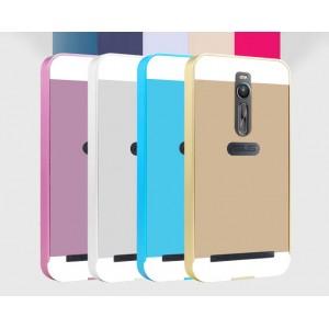 Двухкомпонентный чехол с металлическим бампером и поликарбонатной двухцветной накладкой для Asus Zenfone 2