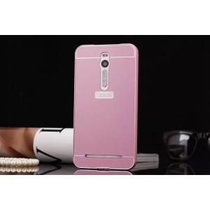 Двухкомпонентный чехол с металлическим бампером и поликарбонатной накладкой для Asus Zenfone 2 Розовый