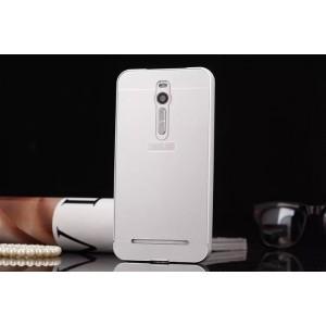 Двухкомпонентный чехол с металлическим бампером и поликарбонатной накладкой для Asus Zenfone 2 Белый