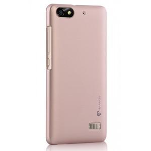 Пластиковый матовый металлик чехол для Huawei Honor 4C Бежевый