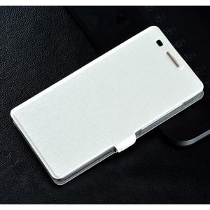 Текстурный чехол флип подставка на пластиковой основе для Huawei Honor 4C Белый