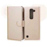 Текстурный чехол портмоне на пластиковой основе с магнитной застежкой для LG Magna Бежевый