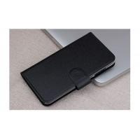 Текстурный чехол портмоне на пластиковой основе с магнитной застежкой для LG Magna Черный