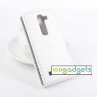 Чехол вертикальная книжка на силиконовой основе с магнитной застежкой для LG Magna Белый