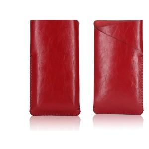 Кожаный Z-образный мешок с глянцевой поверхностью для Asus Zenfone 2 Красный