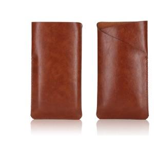 Кожаный Z-образный мешок с глянцевой поверхностью для Asus Zenfone 2 Коричневый