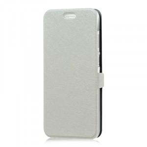 Текстурный чехол флип подставка на пластиковой основе с магнитной застежкой для ZTE Blade S6 Plus Белый
