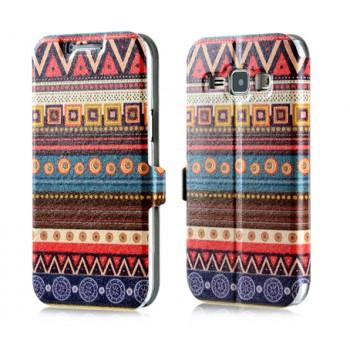 Дизайнерский чехол флип подставка с полноповерхностным принтом и застежкой для Samsung J1