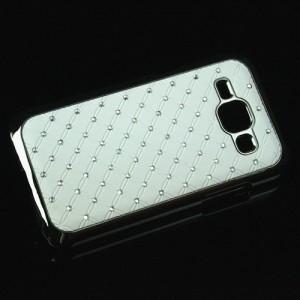 Пластиковый чехол с металлическим напылением и стразами для Samsung J1 Белый