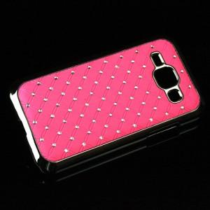 Пластиковый чехол с металлическим напылением и стразами для Samsung J1 Розовый