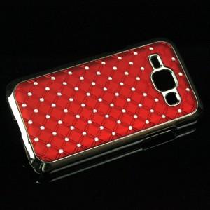 Пластиковый чехол с металлическим напылением и стразами для Samsung J1