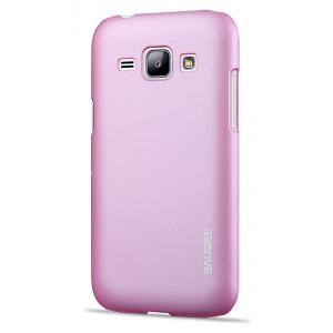 Пластиковый матовый металлик чехол для Samsung J1 Розовый