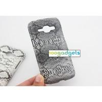 Пластиковый матовый чехол текстура Змея для Samsung J1