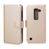 Текустурный чехол флип портмоне с магнитной застежкой для LG Spirit Бежевый
