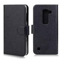 Текустурный чехол флип портмоне с магнитной застежкой для LG Spirit Черный
