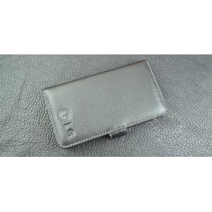 Кожаный чехол портмоне (нат. кожа) с логотипом для LG G4 Черный