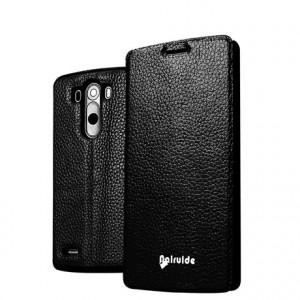 Чехол флип глянцевая зернистая кожа для LG Optimus G3 Черный
