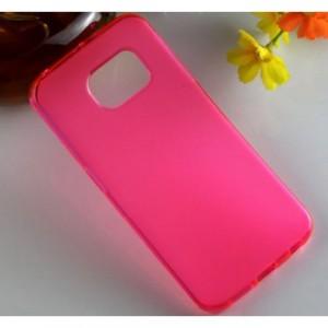 Силиконовый матовый полупрозрачный чехол для Samsung Galaxy S6 Edge Розовый
