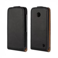 Чехол вертикальная книжка на пластиковой основе для Nokia Lumia 630/635 Черный