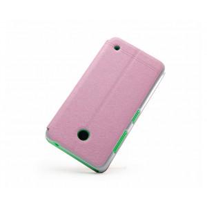 Текстурный чехол флип подставка с окном вызова на пластиковой основе для Nokia Lumia 630/635 Розовый