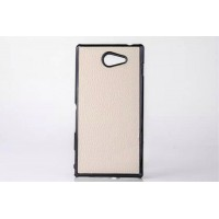 Пластиковый матовый непрозрачный чехол с кожаной текстурой для Sony Xperia M2 dual Белый
