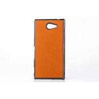 Пластиковый матовый непрозрачный чехол с кожаной текстурой для Sony Xperia M2 dual Оранжевый