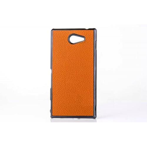 Пластиковый матовый непрозрачный чехол с кожаной текстурой для Sony Xperia M2 dual