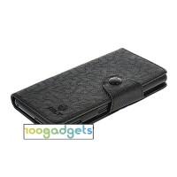 Чехол портмоне подставка на силиконовой основе с кнопкой для Sony Xperia M2 dual Черный