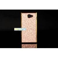 Пластиковый матовый чехол текстура Соты для Sony Xperia M2 dual Бежевый