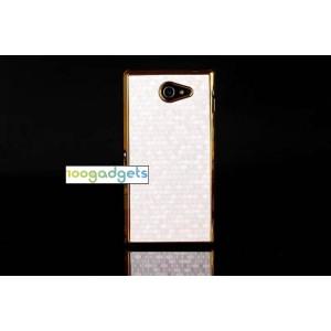 Пластиковый матовый чехол текстура Соты для Sony Xperia M2 dual Белый