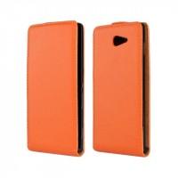 Чехол вертикальная книжка на пластиковой основе с магнитной застежкой для Sony Xperia M2 dual Оранжевый