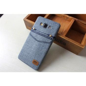 Силиконовый дизайнерский чехол с тканевым покрытием Джинса для Samsung Galaxy A3
