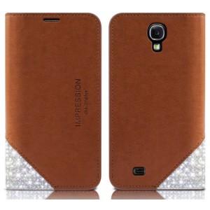 Премиум чехол-портмоне кожа и стразы для LG Optimus G3 Коричневый