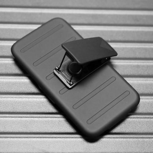 Трехкомпонентный ударостойкий силиконовый чехол с поликарбонатной крышкой и независимым защитным модулем для экрана на клипсе под ремень для Samsung Galaxy A3
