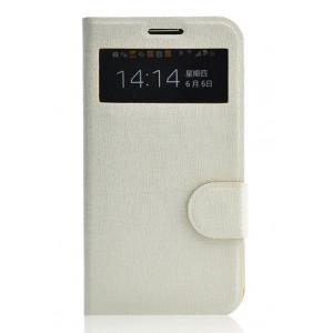 Чехол флип подставка текстурный с окном вызова и магнитной застежкой на платсиковой основе для Samsung Galaxy Mega 6.3 Белый