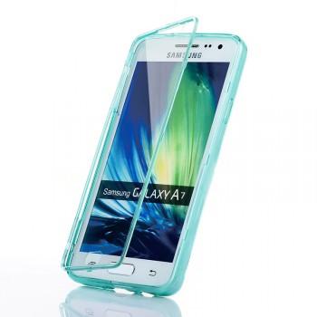 Силиконовый чехол горизонтальная книжка с пластиковой транспарентной крышкой для Samsung Galaxy A7