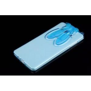 Силиконовый матовый полупрозрачный чехол с ушками и ремешком для Samsung Galaxy A7 Синий