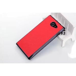 Пластиковый матовый текстурный чехол с карбоновым покрытием для Sony Xperia M2 dual Красный
