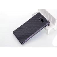 Пластиковый матовый текстурный чехол с карбоновым покрытием для Sony Xperia M2 dual Черный
