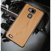 Эксклюзивный двухкомпонентный чехол с металлическим бампером и натуральной деревянной накладкой для Huawei Ascend Mate 7 Бежевый