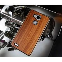 Эксклюзивный двухкомпонентный чехол с металлическим бампером и натуральной деревянной накладкой для Huawei Ascend Mate 7 Коричневый