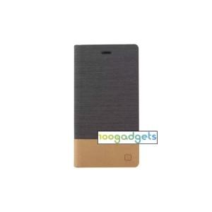 Дизайнерский чехол портмоне с тканевым покрытием подставка на силиконовой основе с внутренним карманом для Sony Xperia M4 Aqua Черный