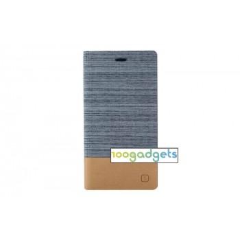 Дизайнерский чехол портмоне с тканевым покрытием подставка на силиконовой основе с внутренним карманом для Sony Xperia M4 Aqua