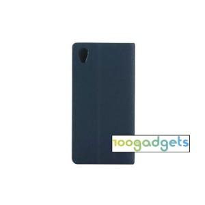 Чехол портмоне подставка на силиконовой основе дизайн Полосы для Sony Xperia M4 Aqua Синий