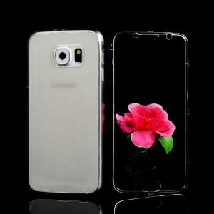 Двухмодульный силиконовый чехол горизонтальная книжка с транспарентной акриловой крышкой для Samsung Galaxy S6 Серый