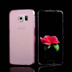 Двухмодульный силиконовый чехол горизонтальная книжка с транспарентной акриловой крышкой для Samsung Galaxy S6 Розовый